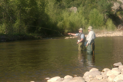Teaching fly fishing casting technique