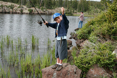 Fishing for arctic grayling in the Boulder Mountains, summer 2008