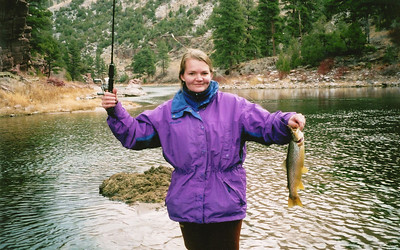 Gina Crompton of Price (the wife of Brad Crompton, DWR wildlife biologist) shows off a nice brown trout caught on the Green River.