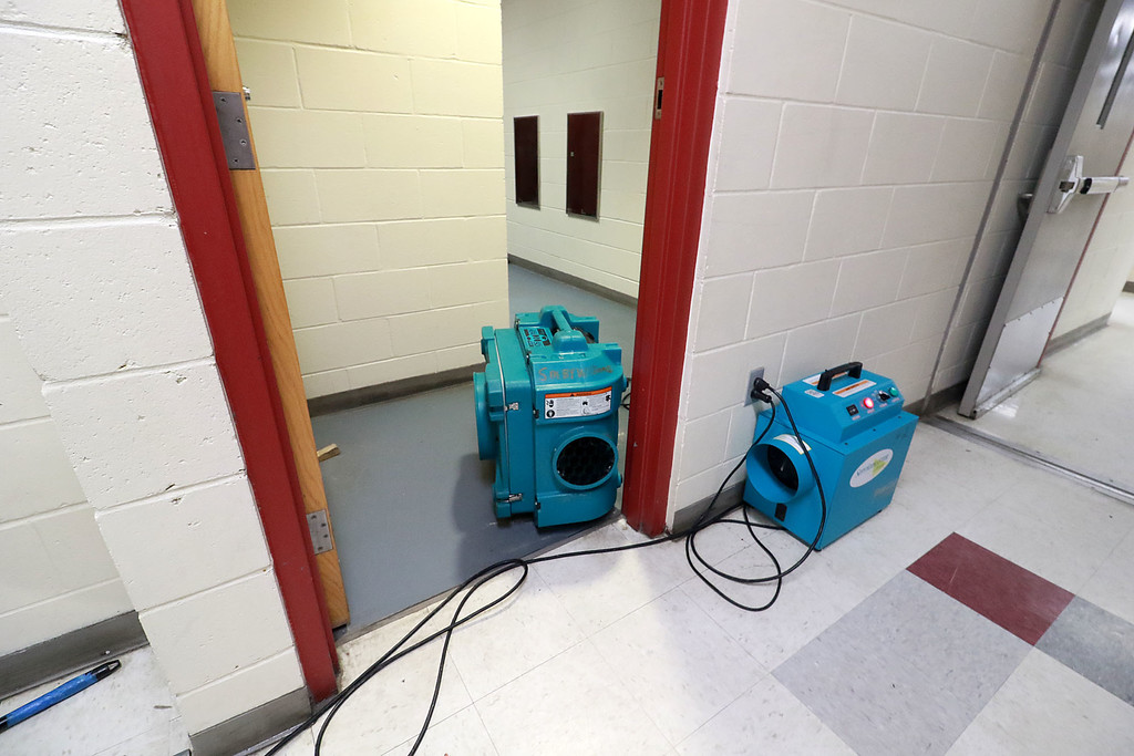 . A fish tank at Fitchburg High School caught fire on July 3, 2018. It caused damage to the room it was in and a lot of smoke damage to other rooms and ceiling tiles. They had fans through the areas of the smoke damage to help with the issues. SENTINEL& ENTERPRISE/JOHN LOVE
