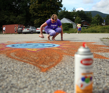 Fisher Elementary School teachers decorate their parking spots. 091018