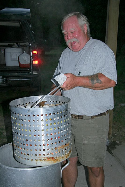 Here is Pete removing the liner from the steam pot.  Big smile on his face.  I wonder why.