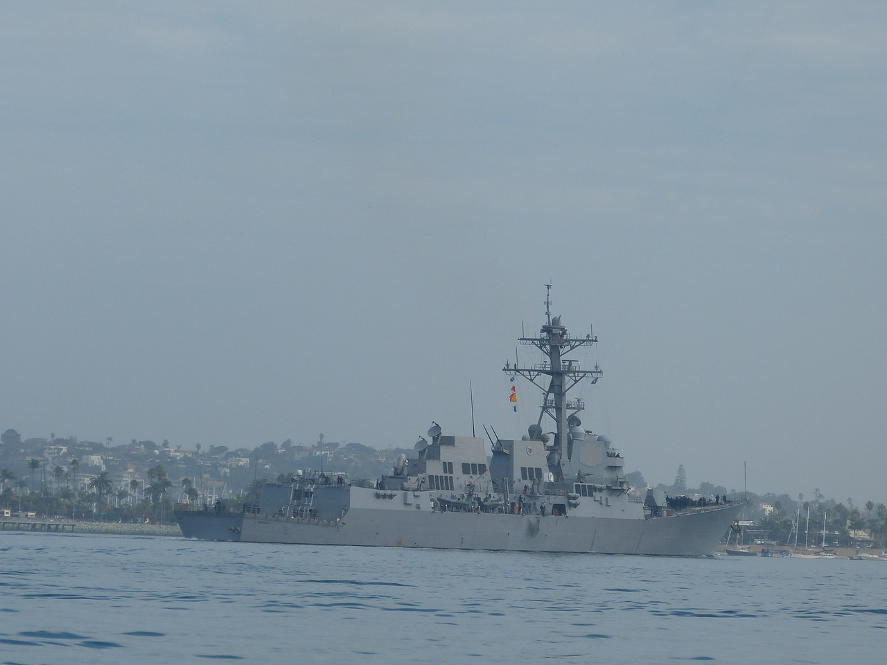 Couldn't make out a name or number on this warship, but she was one of the ones that came home to roost while we were out there.