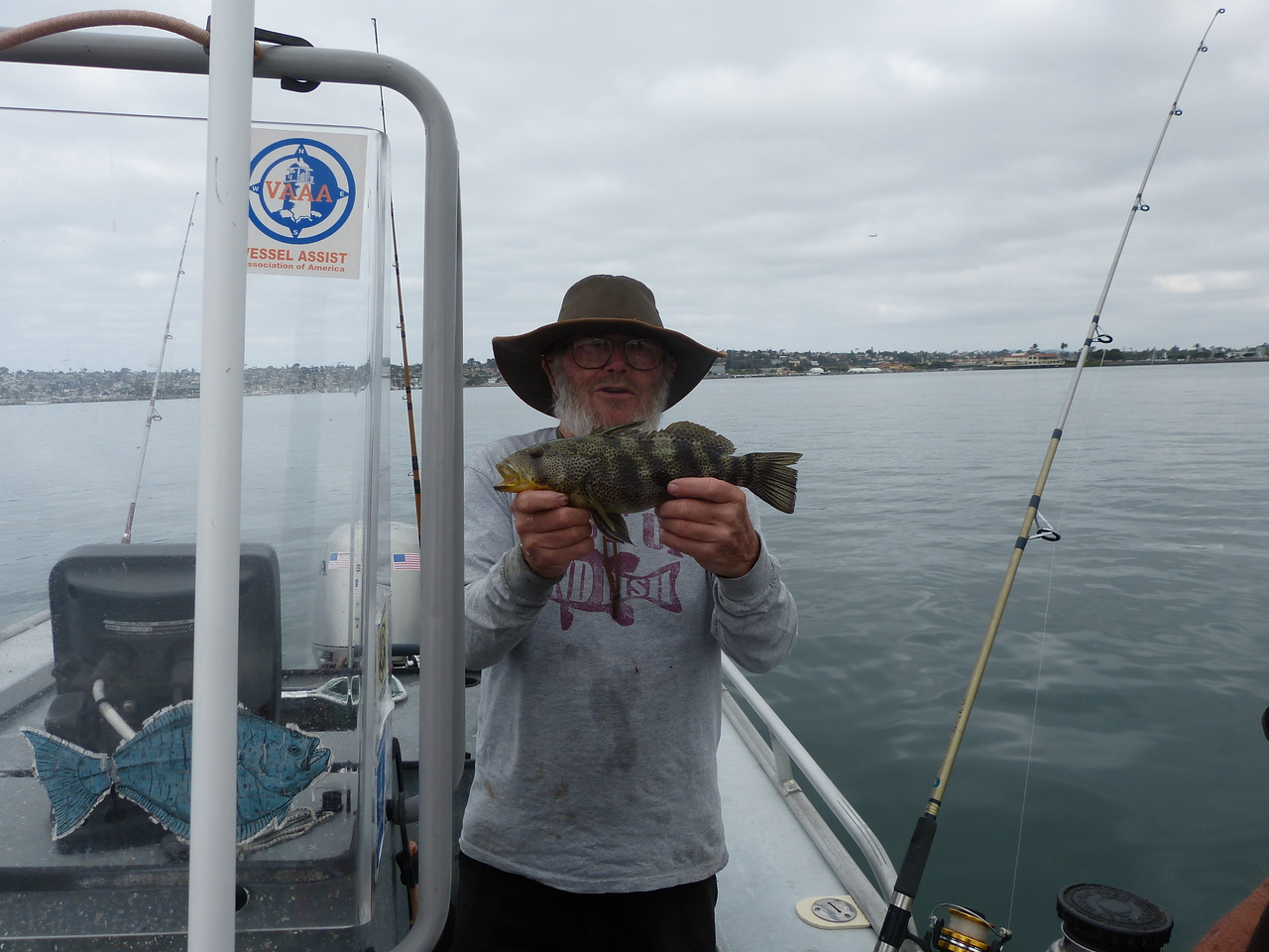Our first catch, a sea bass -- little, but legal -- we'll keep him