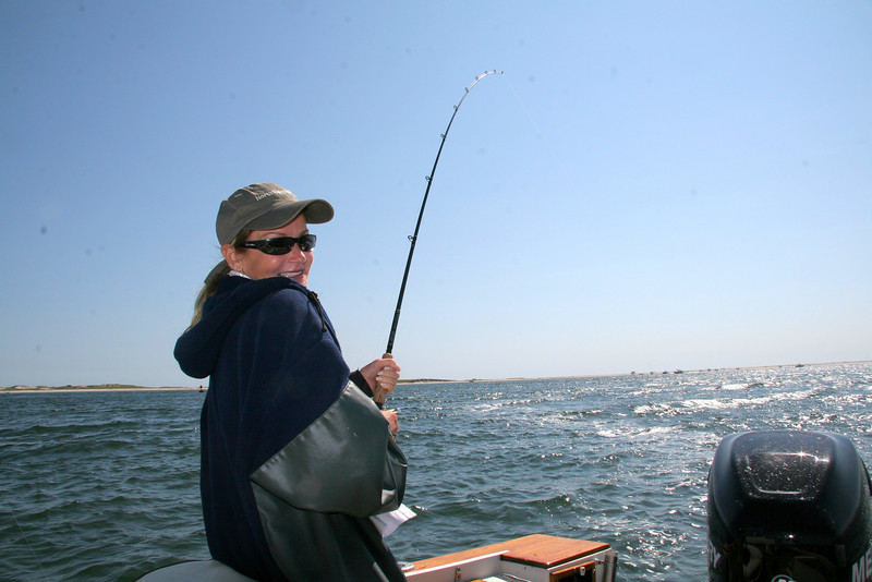 Lenie fishing a plug on the rips.