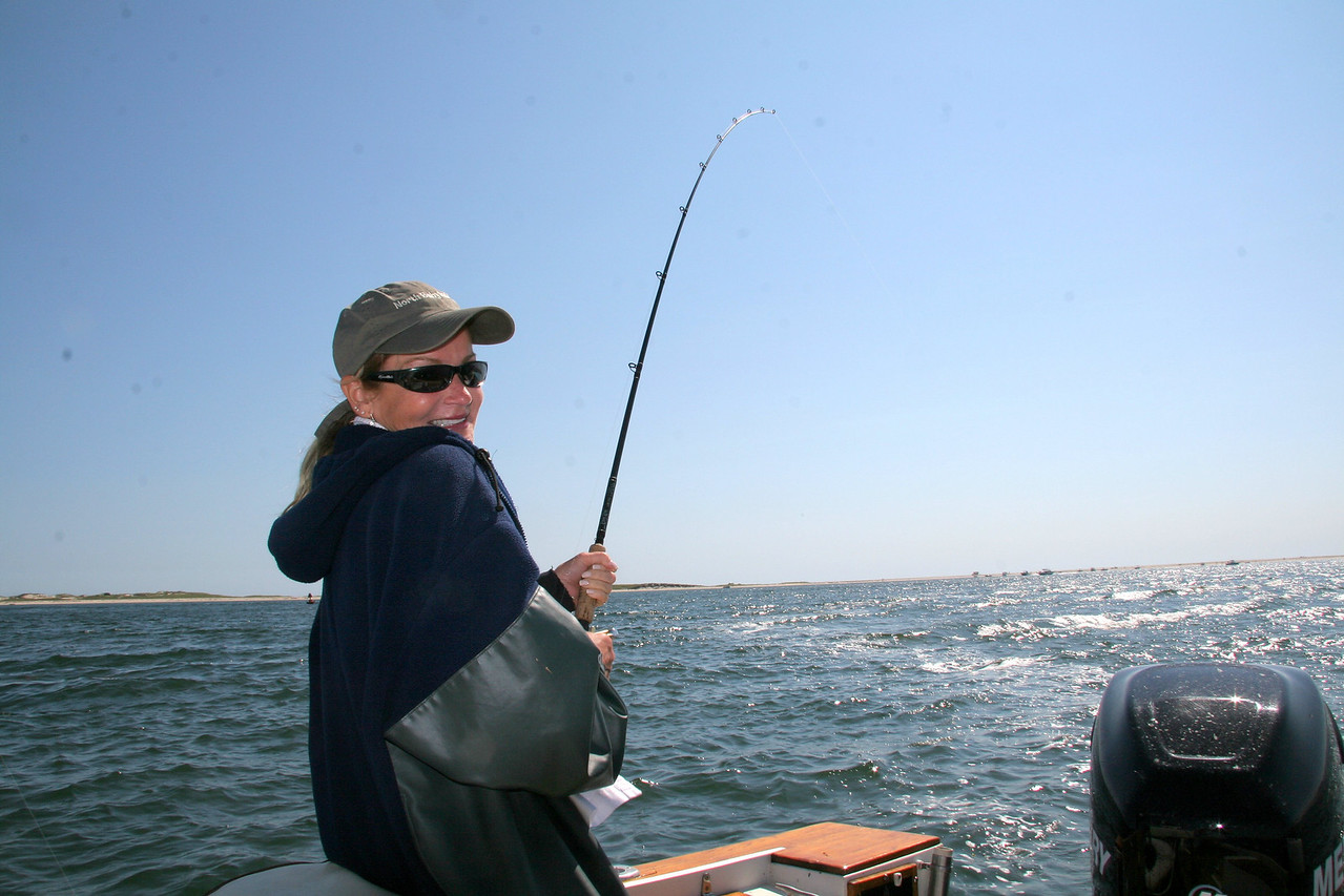 Lenie fishing a plug on the rips.