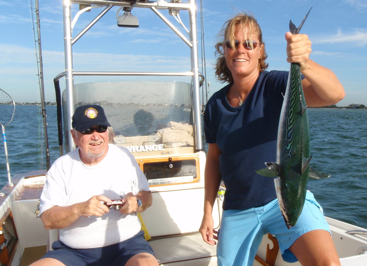 Annie Zabar and Ray with false albacore on light spinning gear.