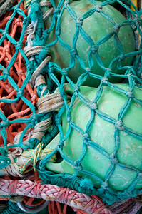 Colourful fishnig nets and knots.Steveston,British Columbia
