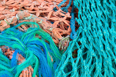 Colourful fishnig nets and knots.Steveston,British Columbia