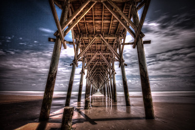 Colorful fine art print of surf city fishing pier.