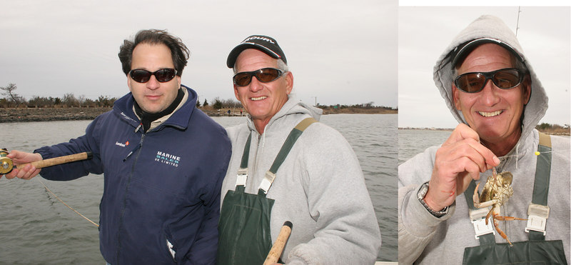"""4/1/2007<br /> <br /> The flounder season opened today and Tim Smith, Anthony Deblasio and I went fishing for a couple of hours on Tim's boat """"Argo"""".  Diesel, Tim's Labrador also came along for the trip.  We tried two spots with one bite and no flounder.  We did catch a crab with three legs on one side only.  It must have walked in circles but managed to find a bait and eat it.  <br /> <br /> Scott and Pete from Augie's went out in the late afternoon and had four fish to two pounds on the ebbing tide in the Babylon area.<br /> <br /> I also know that Captain Joe on the Jib VI out of Captree had some fish to the east somewhere near Point O'Woods.<br /> <br /> Captain Al Lorenzetti"""