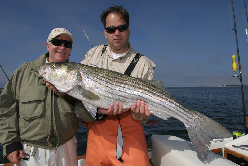 """5-9-2007<br /> <br /> While I was out on the water I ran across Al with a charter. This is Marc and Anthony with a nice bass caught on the """"Skimmer"""" this morning. They are still out fishing and I am sure Al will have more to ad later when he gets back to the dock.<br /> <br /> I am back at the dock after a long day of fishing but it was fairly productive.  We had a 22 pounds fish on bait and dropped a big fish who kept running out line until the bluefish chopped through the line.  It was a good fish I would estimate at least 30 pounds.<br /> <br /> We caught three bass in the teens on plugs early in the day.  The bluefish were savage and we went through two days worth of live bait in a couple of hours but you have to stick with it in the bluefish until you get the bass.  They are feeding together just like last spring.<br /> <br /> The fog in the morning was not nice but the day turned out to be pretty good.  We all had a good time.<br /> <br /> Captain Al Lorenzetti"""