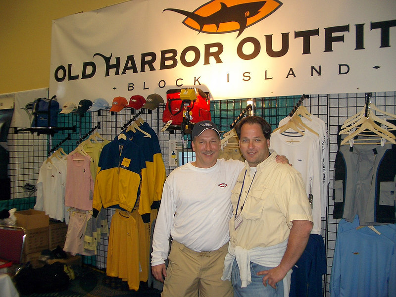 """After a quick walk through the hall we walked up to the Big Game room and I was reminded that I actually do like fishing as long as it is somewhere tropical and big fish are involved.  Sadly we missed seeing the couple from ESPN's """"Go Fisch"""" who were scheduled to do a seminar at the show.  I reiterate...plan what you want to see!  Anthony stopped at Old Harbor Outfitters to admiring their fishing shorts and they have a line of women's clothing coming soon!   <a href=""""http://www.oldharboroutfitters.com"""">http://www.oldharboroutfitters.com</a>"""