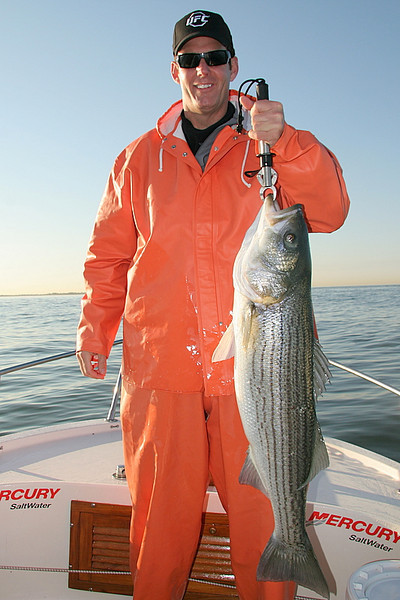 Here is Rich with the biggest fish of the morning.<br /> <br /> It wasn't a great bite but it was OK and the day was excellent. Another great day on the water.<br /> <br /> Captain Al Lorenzetti
