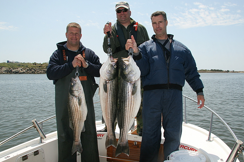 5/15/2008<br /> <br /> I fished today with Frank DeSousa, his brother Anthony and their pal Tom (right, left and center). <br /> <br /> We had a good day of striped bass fishing with live bait. The action was hot in the morning and tapered off in the afternoon.<br /> <br /> Overall it was a good day and we had an bunch of laughs.