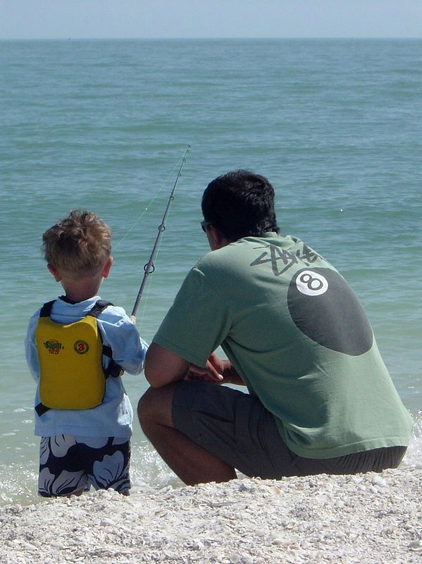 A great shot of Wes with Tanner showing him the finer points of spin-casting from the beach on Cape Romano.  Ten minutes later, Tanner was showing Wes a few new tricks.