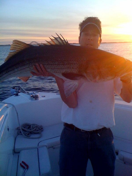 name: Ryan Brownyard<br /> <br /> Date Caught: 6/25/10<br /> <br /> Location: Ocean<br /> <br /> Hit the pods with my brother Sean and neighbor George.  Within 5 minutes we had a double header.  Sean's was 29 lbs. and mine was 47 lbs.  Thanks to Gary Arnold who was nearby with the 60 lb. boga, we were able to get a weight on the big one and let them both swim away.