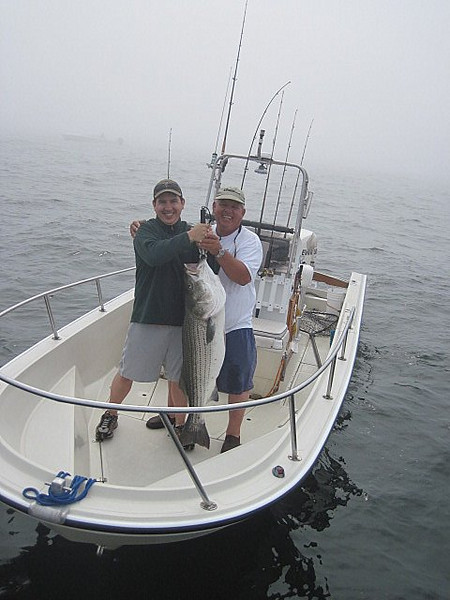 6/20/10<br /> <br /> Today Fathers Day, my son and I did the traditional fish off. Fishing<br /> under the bunker schools outside of Fire Island inlet was rewarding in<br /> spite of the heavy fog and lumpy seas. This year Steven was the winner<br /> skunking his dad 4-0 topping off the lot with the trophy 42lb. Happy<br /> Fathers day to all.<br /> <br /> Ray Bartlett<br /> <br /> The UPS Store Long Beach and Babylon