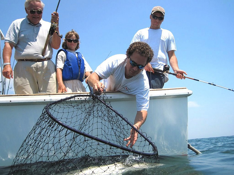 """6/26/10<br /> This crew is three generations of fisherman headed by Jack Albanese and his sons Jake, and Max. Grandfather Pete Mercier completes the crew. Here I jump in the water with my Cannon Power-Shot D10 to get a fish eye view of what it looks like. This crew just released a fish that was around 49"""" long and also by end of day had released a few more cows.<br />  <br /> Ray Bartlett"""