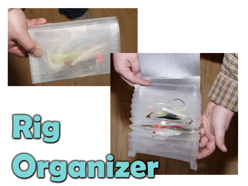 Rig Organizer  Here is a great way to organize those loose fishing rigs for less then $3.00. Go to your local office supply store and pick up some coupon folders. These small little accordion type organizers are perfect for storing jigs, hook rigs and small lures. They are all plastic including the snap and come in multiple colors for easy organization for specific species.  <p>Thanks to Mike McGrath for sending along this great tip.<p>