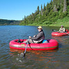 Dan (left) and guide Joe (on his day off) enjoy the personal rafts.
