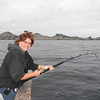 Jeanne hooked up to a yellowtail at San Benitos Island.