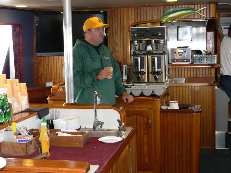 Justin Fleck, skipper, giving the safety seminar on the first day of the trip.