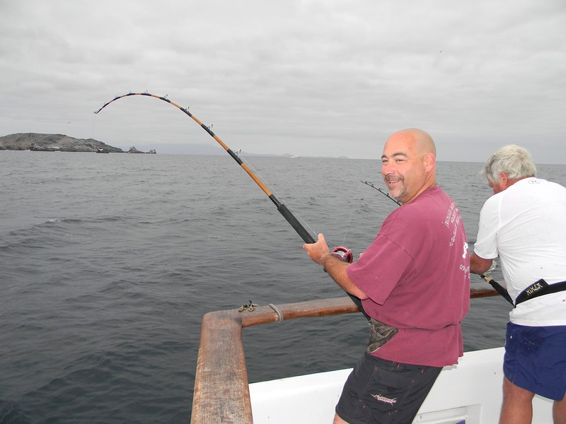 Chris Voge hooked up to a yellowtail.