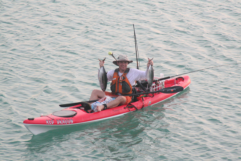 2 blackfin tuna, one lure. Both these guys hit the same lure at the same time. Made for an interesting few minutes on the kayak.<br /> April 24
