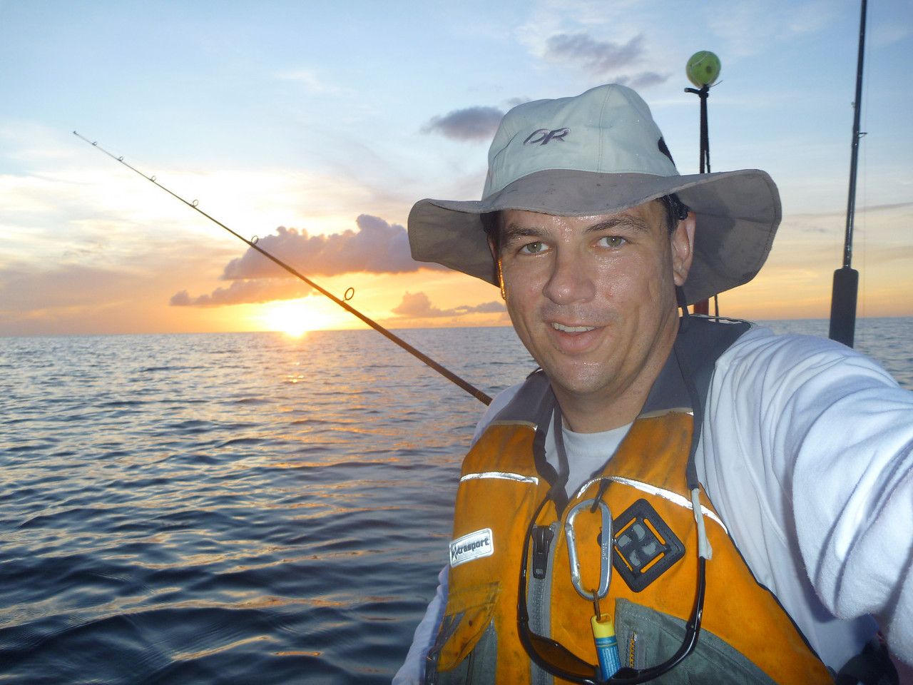 June 5, 2010. Sunset as seen while kayak fishing Grenada. It always looks nicer when you have a tuna in the cooler bag!