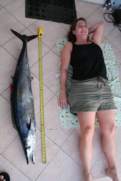 Jeni, proving she has a sense of humor. Compare w/ the 'Darwin & tuna' picture.