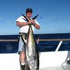 Yours truly with his 107lb Jackpot winning Yellow Fin Tuna caught on 40 lb test after an epic hour plus battle.