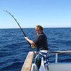 Jeanne hooked up to 200 lb Marlin