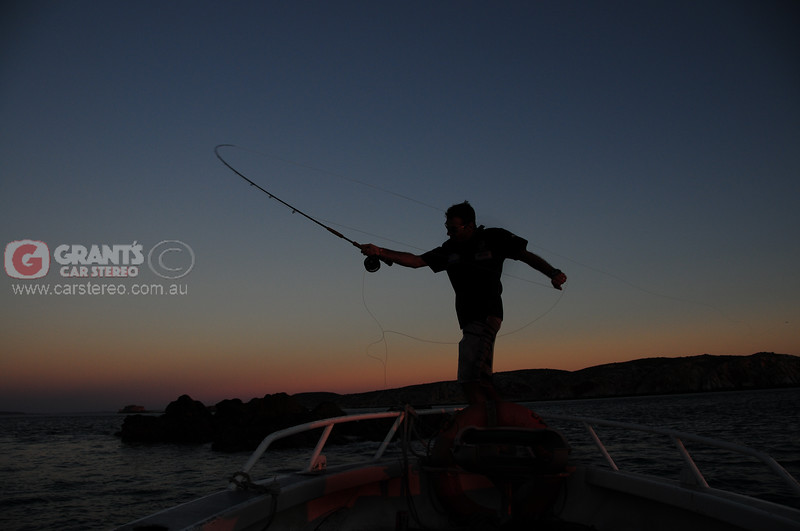 Nick Hocking showing us his amazing fly fishing technique against a Kimberley Sunset.