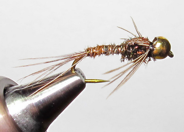 #12 Bead Head Pheasant Tail Nymph with legs, viewed slightly from above.