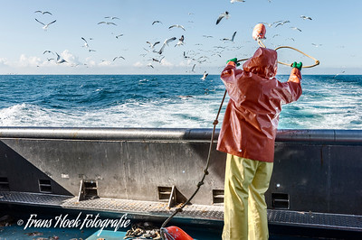 Throwing small buoy. / Uitgooien kleine boei.