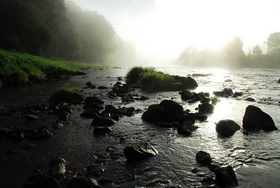 A misty summer morning at Dess Mill on the River Dee.
