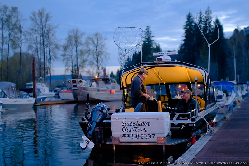 Preparing for a Dawn Departure - Snapshot gallery of images from two days of guided fishing with Toby Muck of Sidewinder charters on the Columbia River near Cathlamet Washington fishing for Spring Chinook. Images have been cropped and batch processed for display on the web. All files are Copyright © 2006 J. Andrew Towell Please contact me at troutstreaming@gmail.com to negotiate for any and all usage rights.