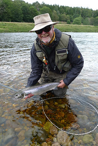Richard Donkin with the first of four salmon in an hour, Lower Gannets, Ballogie, August.