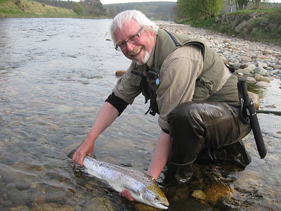 Richard Donkin returns a fish at Carlogie, April.