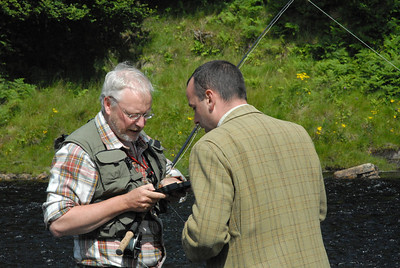 Richard Donkin discussing fly choices with Stephen Mackenzie, head gillie, Lower Oykel, July.