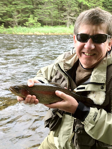 Mitch Shadler with a nice Trophy Stretch rainbow, June 2012.