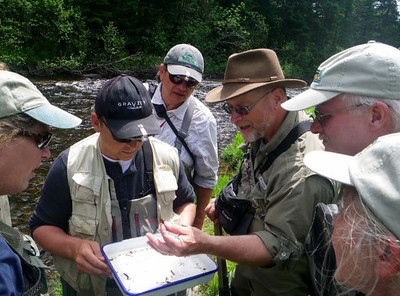 Fly Fishing School entomology class at the Connecticut River.