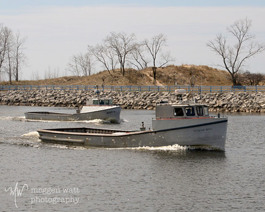 Petersen Brothers and Buddy B trap net boats in Muskegon.