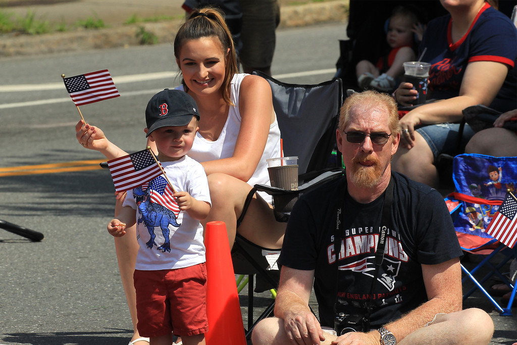 . Oakley Barnes from Groton waving his flag showing off his 4th of july spirit SENTINEL&ENTERPRISE/Scott LaPrade