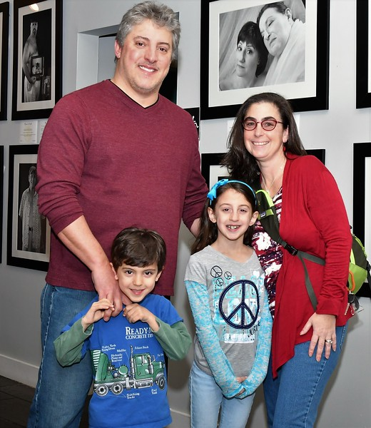 Bill, Sawyer, Samantha and Mom, Marcie Giannattasio at the Art beCAUSE Breast Cancer Foundation show on Sunday afternoon at the Fitchburg Art Museum. SENTINEL & ENTERPRISE/JIM FAY