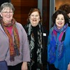 Sharon Bernard, director of the Fitchburg Public Library, Ellie Anbinder, president and founder of Art beCause and Art beCAUSE board of director member Marsha Cannon. SENTINEL & ENTERPRISE/JIM FAY