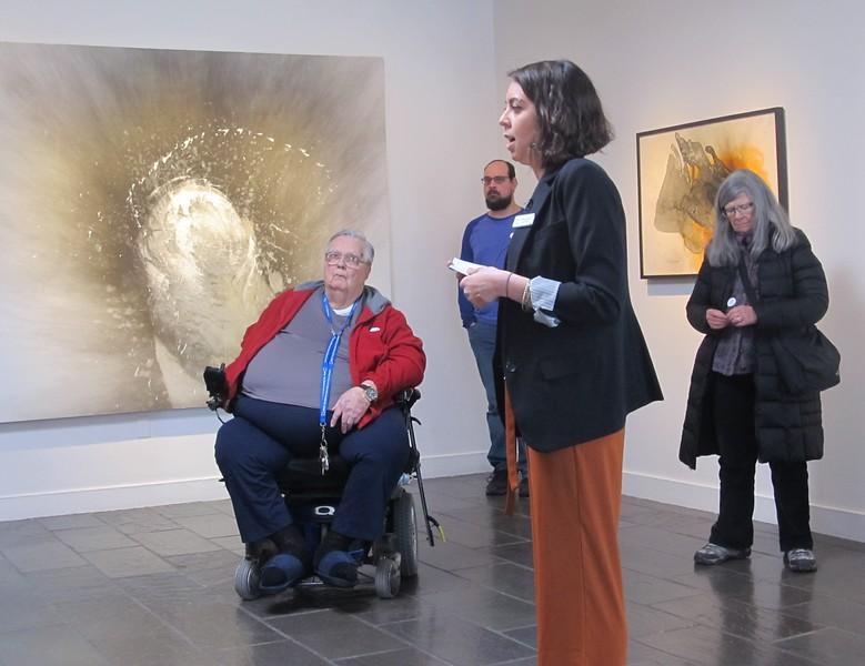 Terrana Curatorial Candice Bancheri discusses Otto Piene's work at the Fitchburg Art Museum on Sunday.<br /> SENTINEL & ENTERPRISE / Nick Mallard