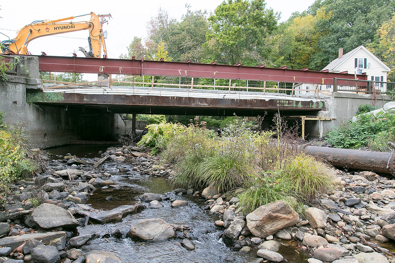 Work is being done to the bridge on Westminster Street in Fitchburg over Phillips Brook Tuesday, Oct. 1, 2019. SENTINEL & ENTERPRISE/JOHN LOVE