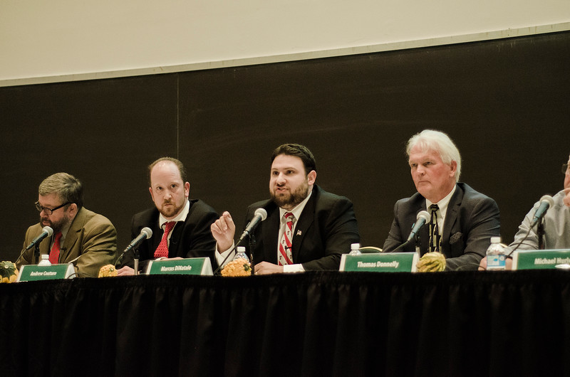 Candidates David Clark, Andrew Couture, Marcus DiNatale, Thomas Donnelly, Michael Hurley, Kelly Johnson, Sam Squailia, Dean Tran and Anthony Zarrella participate during the Fitchburg City Council At-Large debate held on Wednesday, October 18, 2017 at Fitchburg State University. SENTINEL & ENTERPRISE / Ashley Green